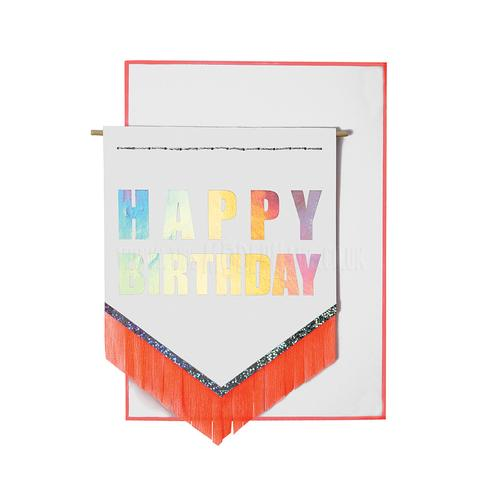 Meri Meri Happy Birthday Neon Fringe Card
