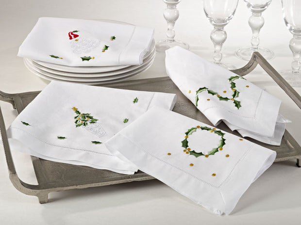 Saro Hemistitched Holiday Napkin White 609 - Le Papillon Gallery