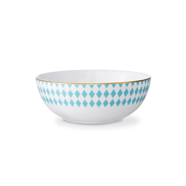 B by Brandie Hutton Turquoise and Gold Soup/Cereal Bowl