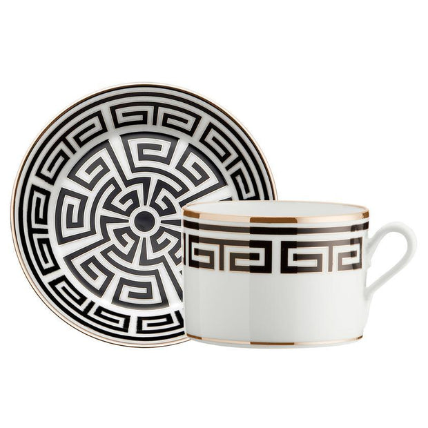 Richard Ginori Laberinto Nero Tea Cup Saucer - Le Papillon Gallery