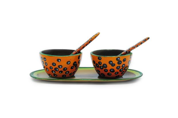 Margarita Batik Double Saucer with Spoon - Le Papillon Gallery