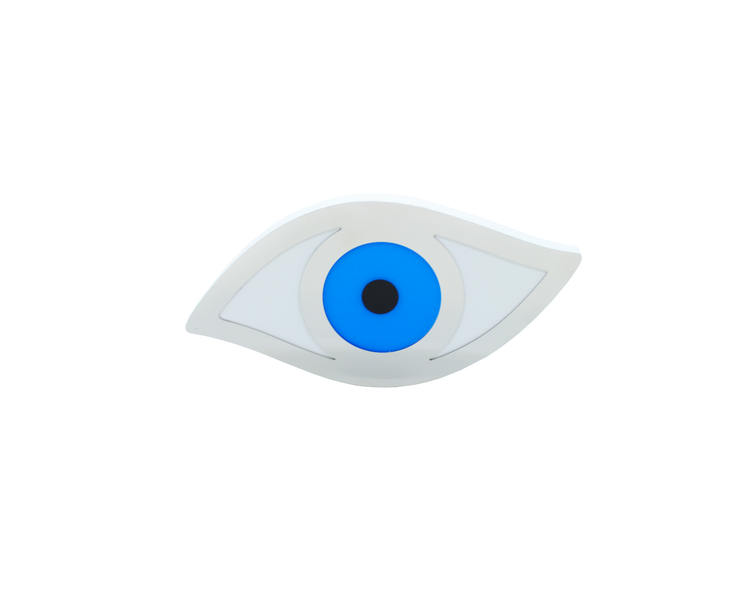 Intersilver White Plexiglass Evil Eye Blue