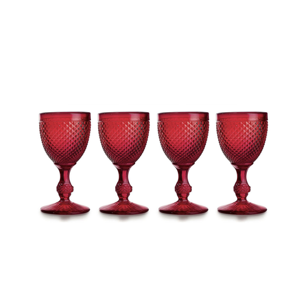 Vista Alegre Bicos Red Water Goblets (set of 4) - Le Papillon Gallery