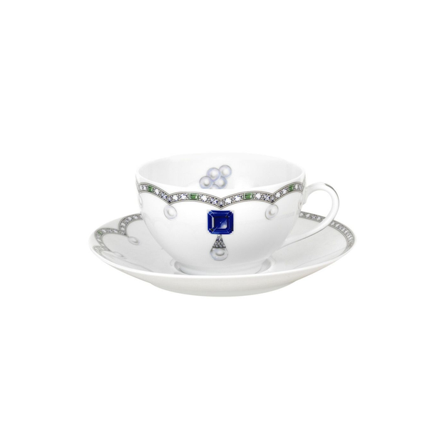 Fradkof Sapphire Breakfast Cup & Saucer - Le Papillon Gallery