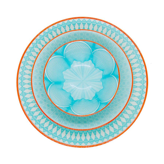 Ceramic Bowl Turquoise with Orange Border