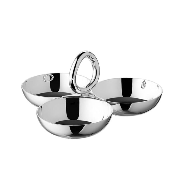Vertigo Silver Plated Three-Bowl Small Snack/Trinket Server