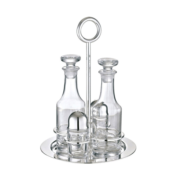 Vertigo Silver Plated Oil and Vinegar Cruet Set with Stand - Le Papillon Gallery