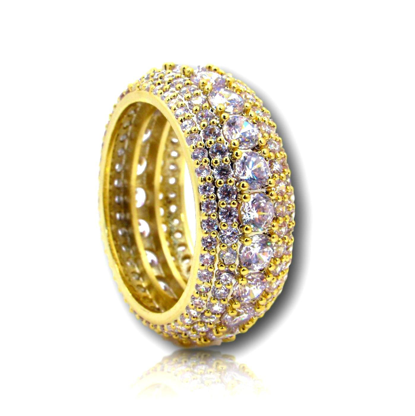5 Layer Diamond Band Ring in Yellow Gold - IcedGold