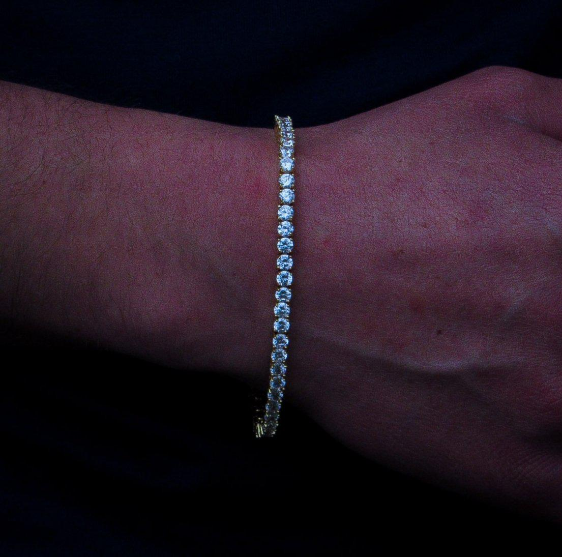 Round Cut 4mm Diamond Tennis Bracelet in Yellow Gold - IcedGold