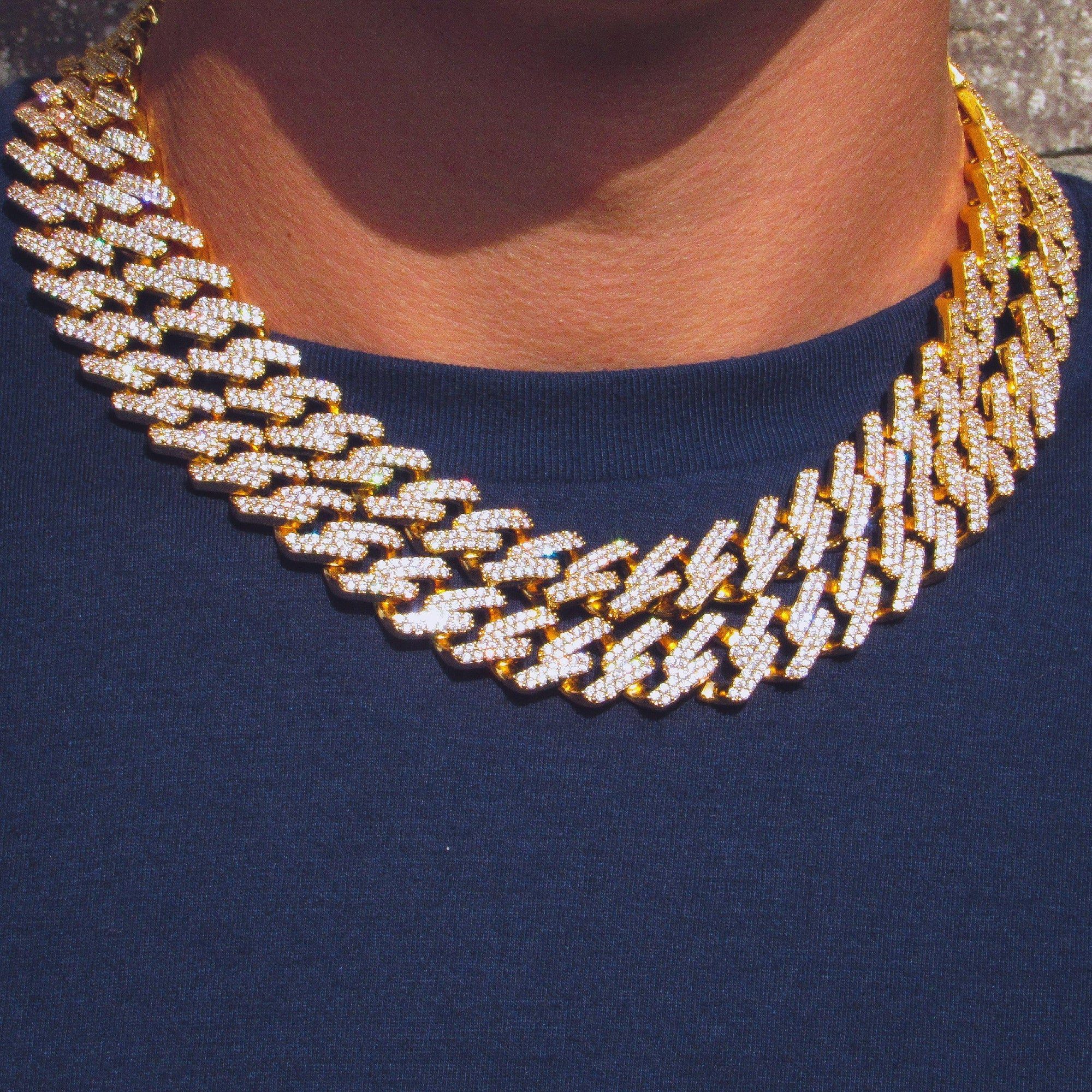 14mm Prong Set Miami Cuban Link Chain in Yellow Gold - IcedGold