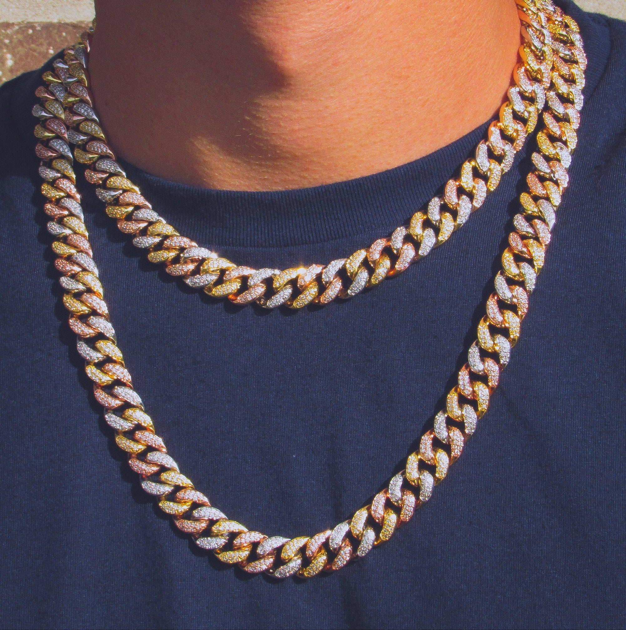 12mm Multicolored Miami Cuban Link Chain - IcedGold