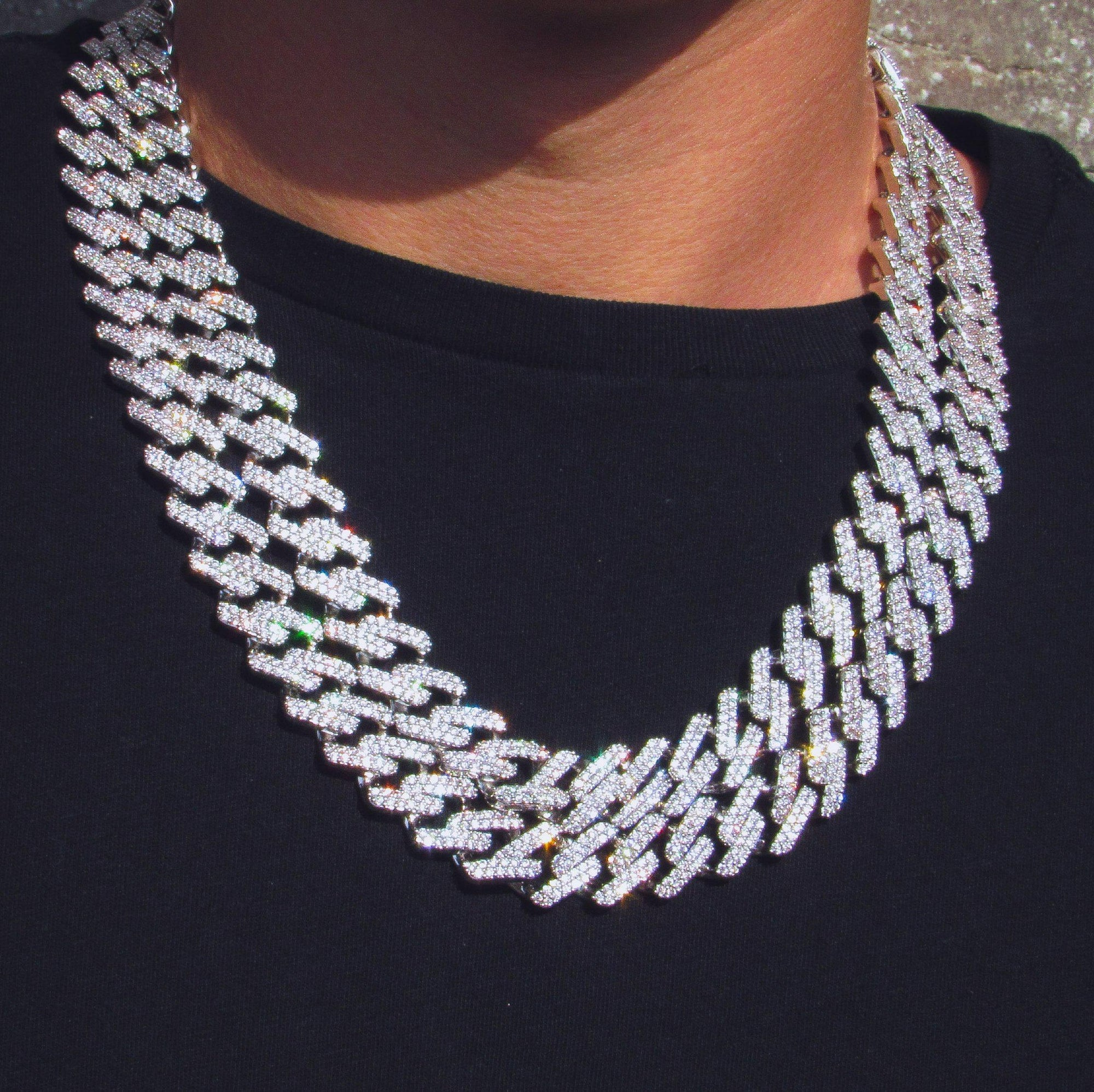 14mm Prong Set Miami Cuban Link Chain in White Gold - IcedGold