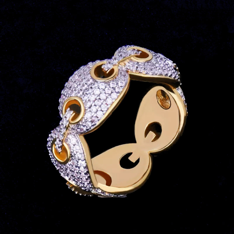 G Link Diamond Band Ring Yellow Gold