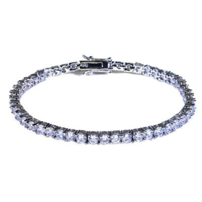 Round Cut 4mm Diamond Tennis Bracelet in White Gold - IcedGold