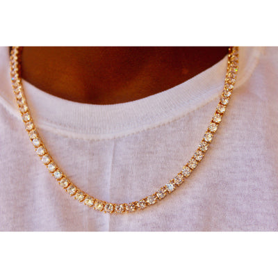 Round Cut 5mm Diamond Tennis Necklace in Yellow Gold - IcedGold