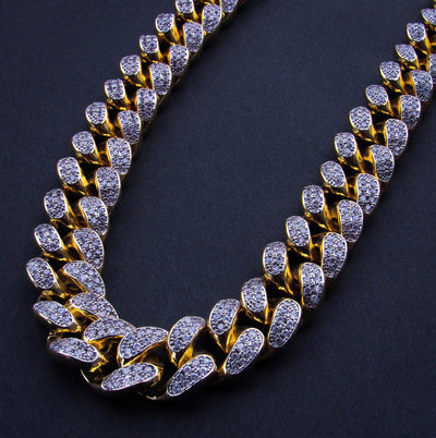 19mm Iced Cuban Link Chain 18K Yellow Gold Plated - IcedGold