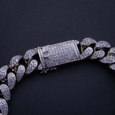 19mm Iced Cuban Link Chain 18K White Gold Plated - IcedGold