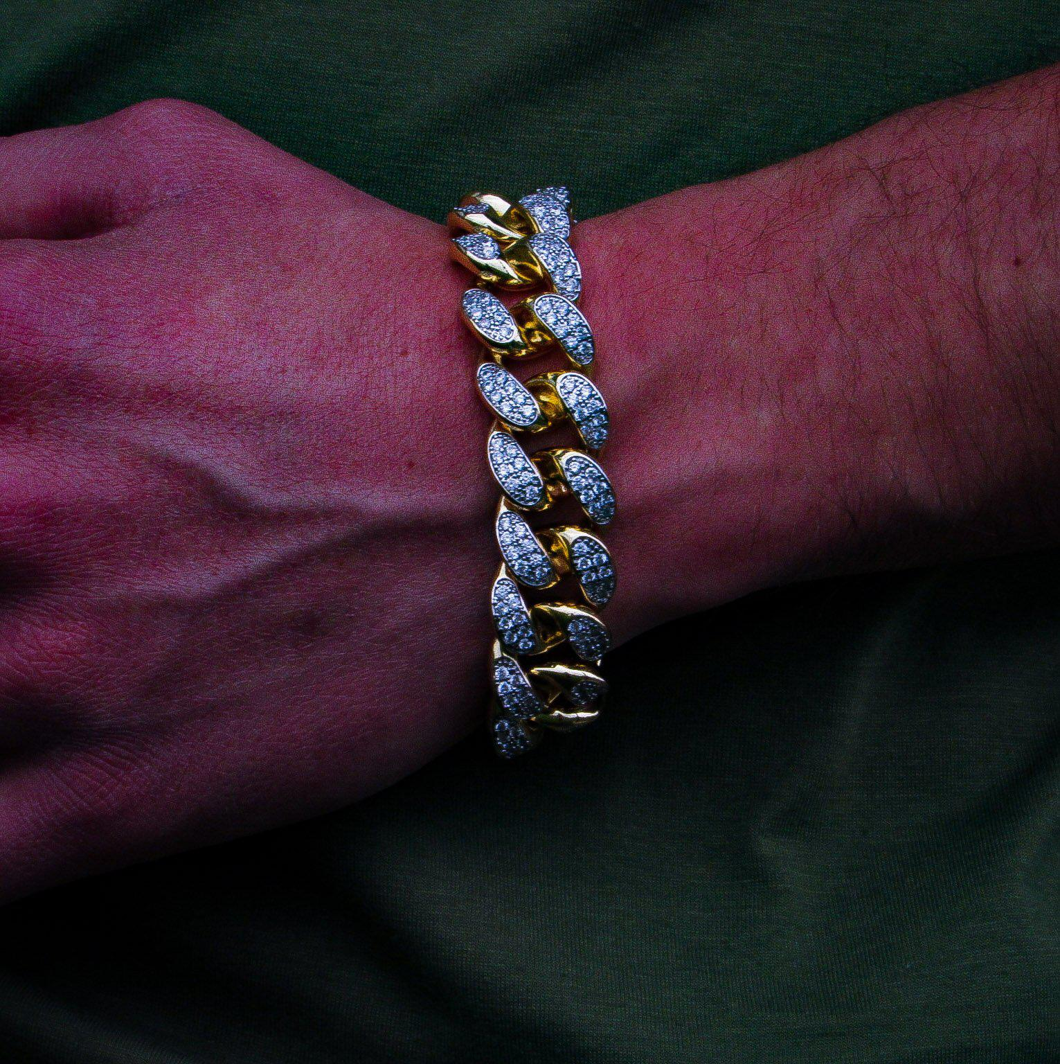 19mm Diamond Miami Cuban Link Bracelet in Yellow Gold - IcedGold