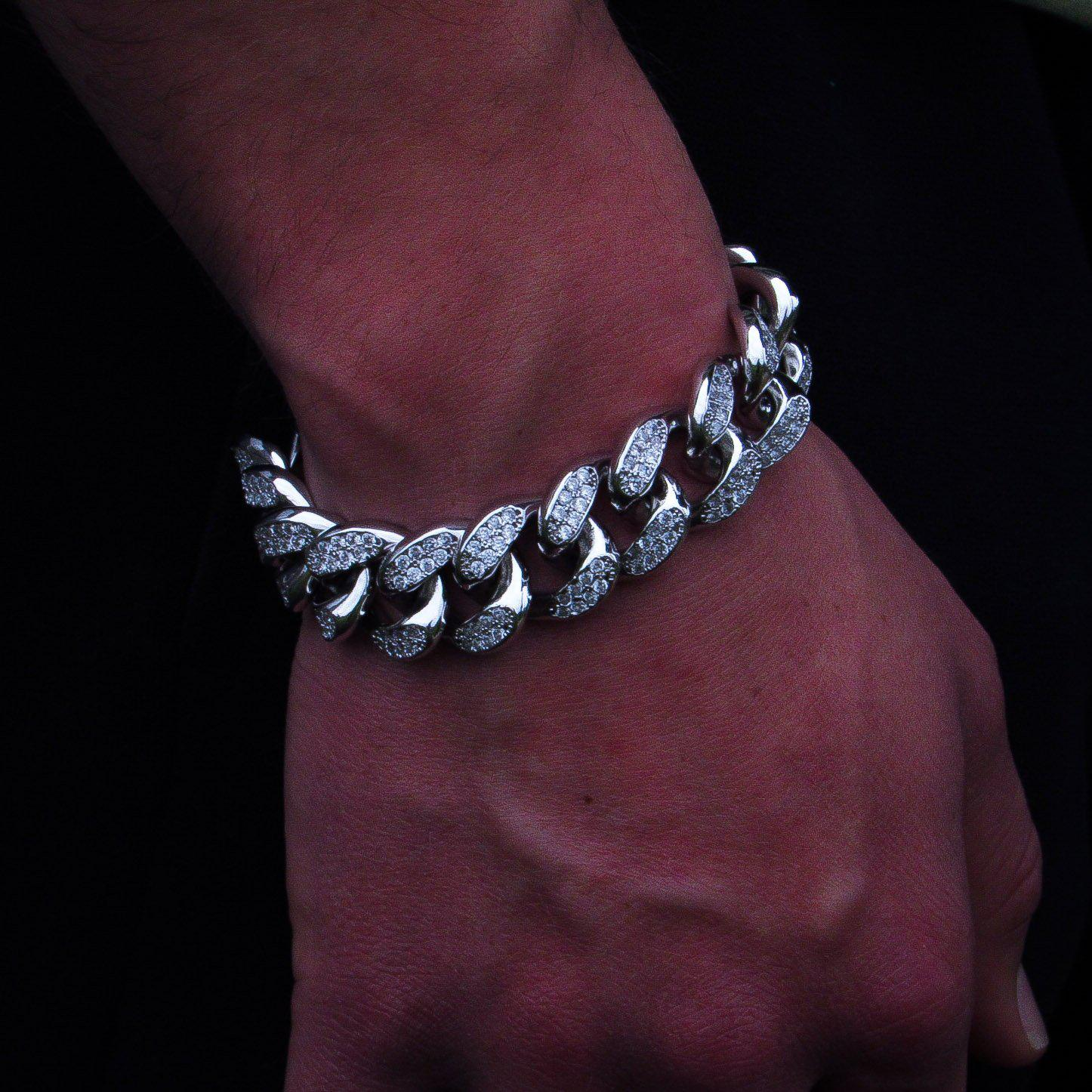 19mm Diamond Miami Cuban Link Bracelet in White Gold - IcedGold