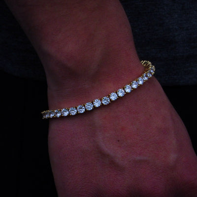 Round Cut 5mm Diamond Tennis Bracelet in Yellow Gold - IcedGold