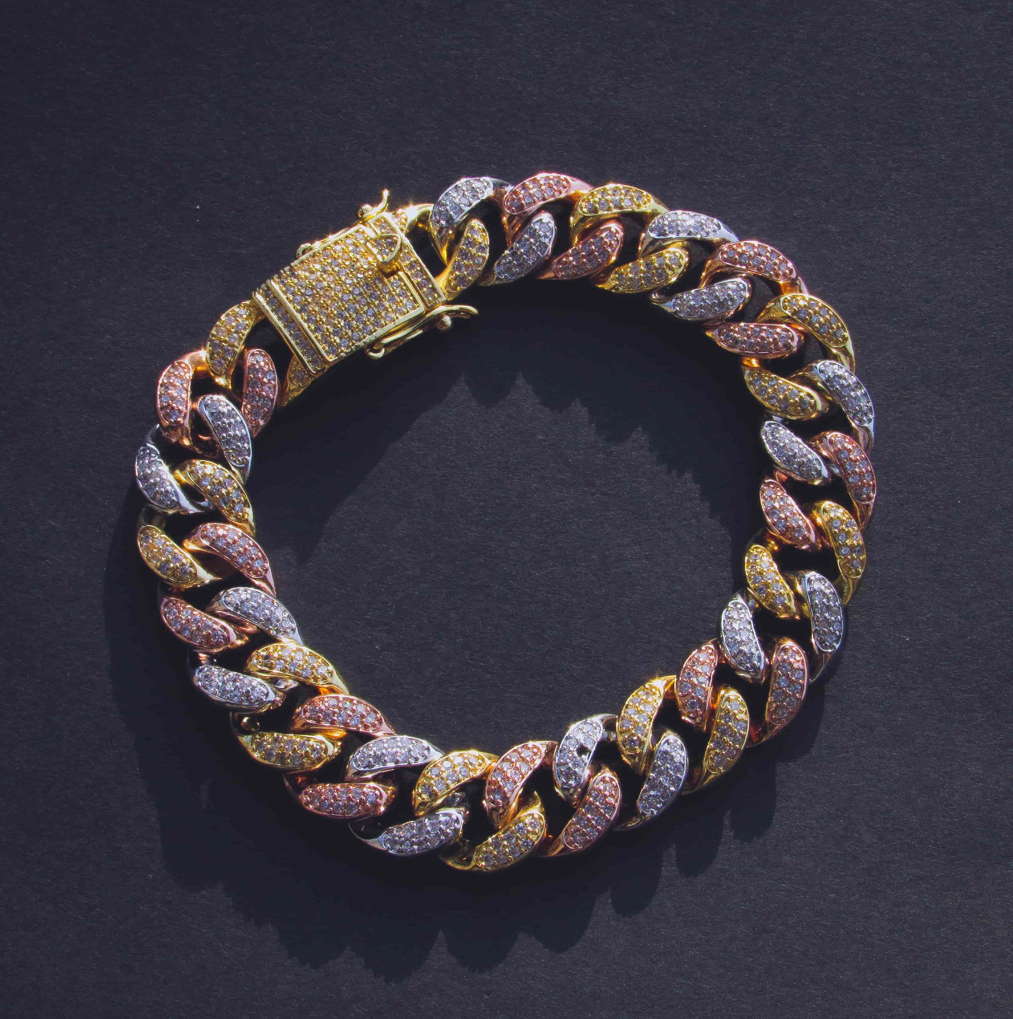 12mm Multicolored Cuban Link Bracelet - IcedGold