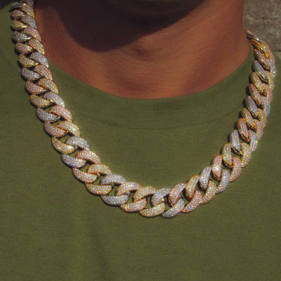 19mm Three Row Multicolored Cuban Link Chain - IcedGold