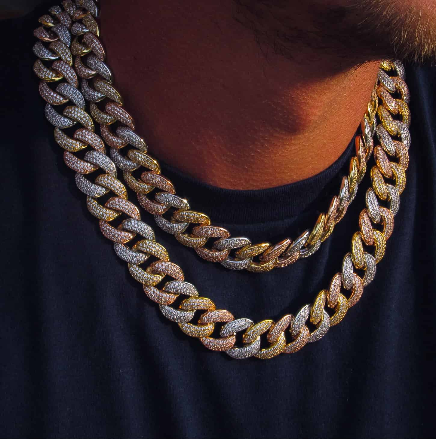 19mm Three Row Multicolored Cuban Link Chain