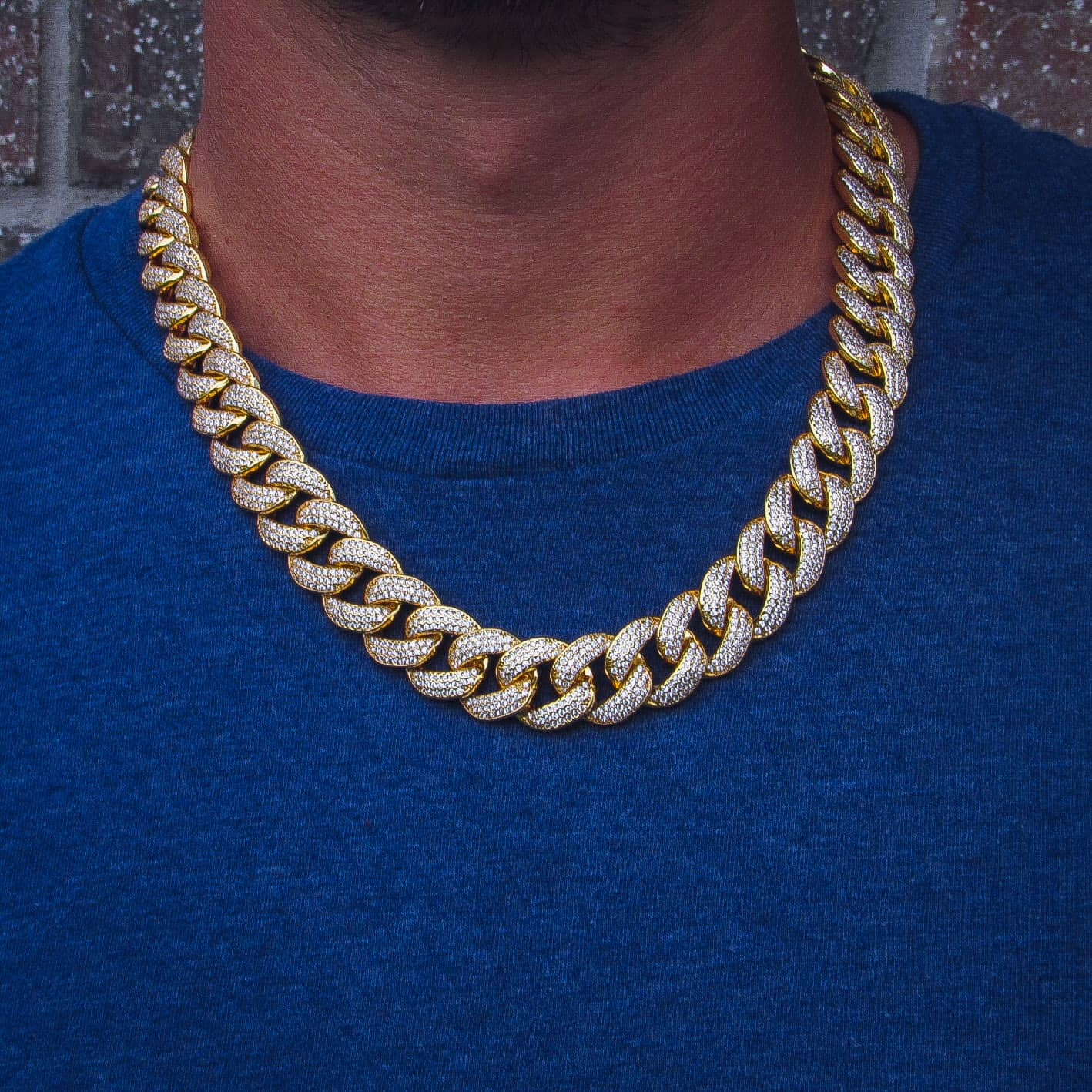 19mm Three Row Cuban Link Chain Yellow Gold