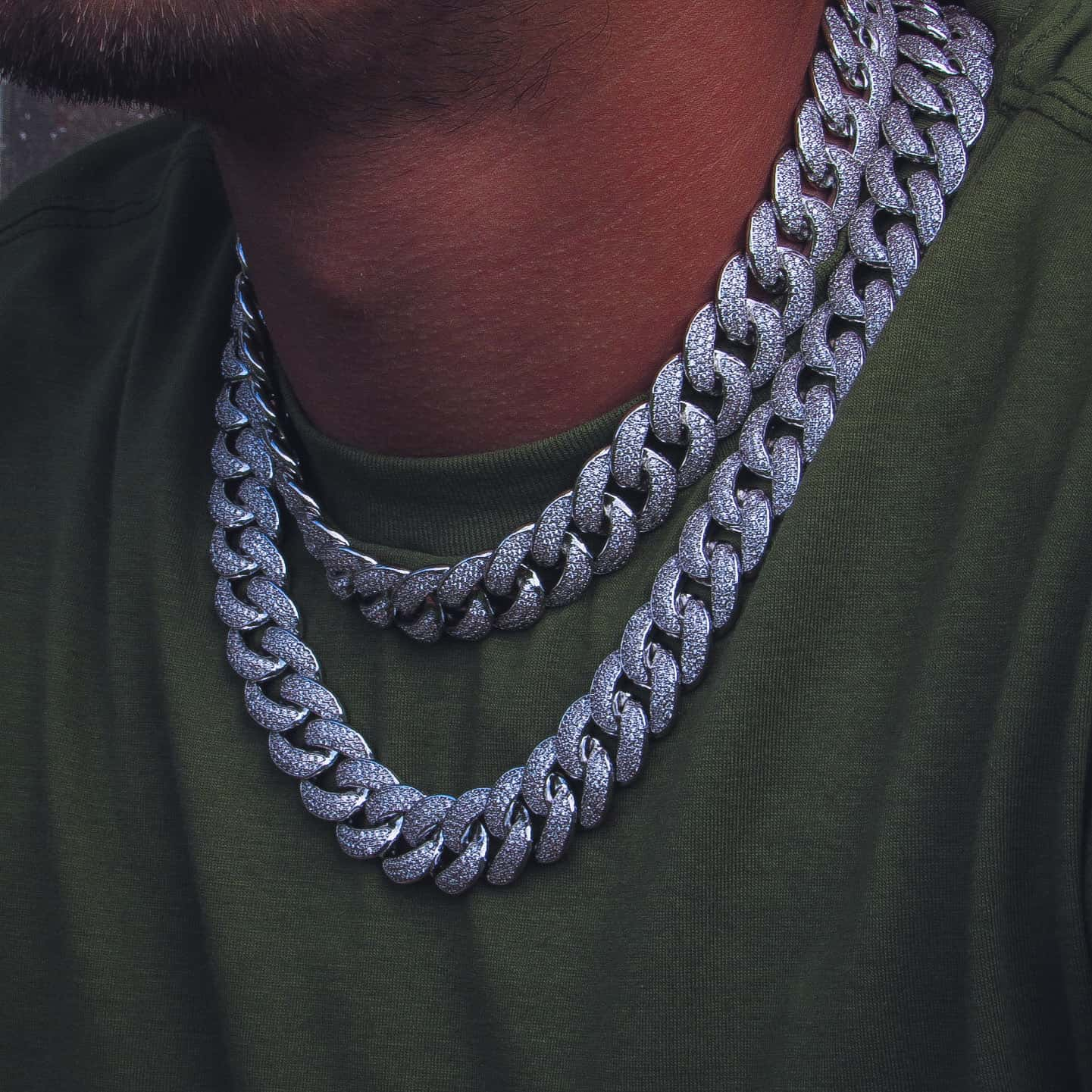19mm Three Row Cuban Link Chain White Gold - IcedGold