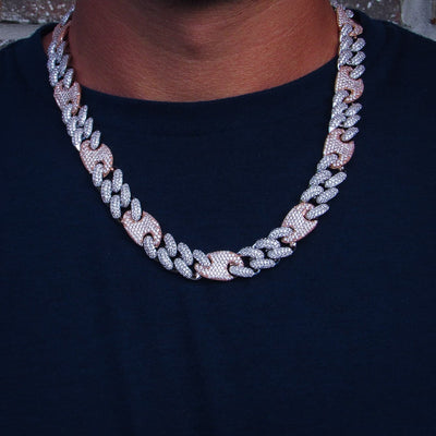 16mm Multicolored Figaro Cuban Link Chain - IcedGold