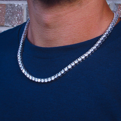 Round Cut 5mm Diamond Tennis Necklace in White Gold - IcedGold