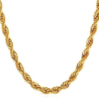 6mm Stainless Steel Rope Chain - IcedGold