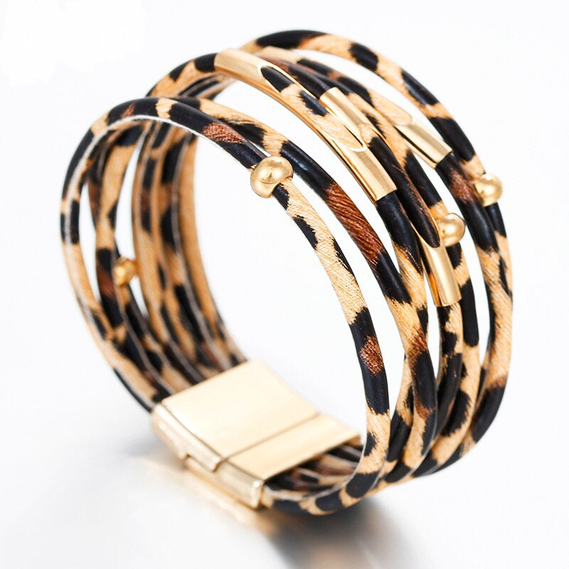 Leopard Leather Bracelet – Animal Print Leather Bracelet – Elegant Multilayer Jewelry – Bohemian Bracelet – Sparking Bracelet – Panther Leather Wrap Bracelet