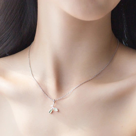 Sterling Silver Green Opal Leaves Necklace - 925 Real Silver Necklace - Classic Silver Necklace
