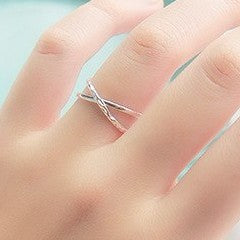 Sterling Silver Double Line Cross Ring - 925 Real Silver Ring - Classic Silver Ring - Adjustable Cocktail Ring
