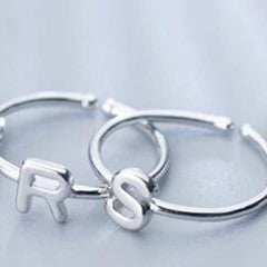 Sterling Silver Alphabet Letters A-Z Ring - 925 Real Silver Ring - Classic Silver Ring - Adjustable Cocktail Ring
