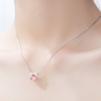 Sterling Silver Cat Strawberry Necklace - 925 Real Silver Necklace - Classic Silver Necklace