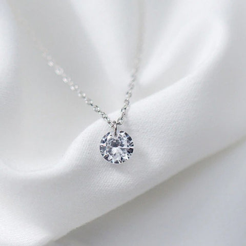 Sterling Silver Round Crystal Pendant Necklace - 925 Real Silver Necklace - Classic Silver Necklace