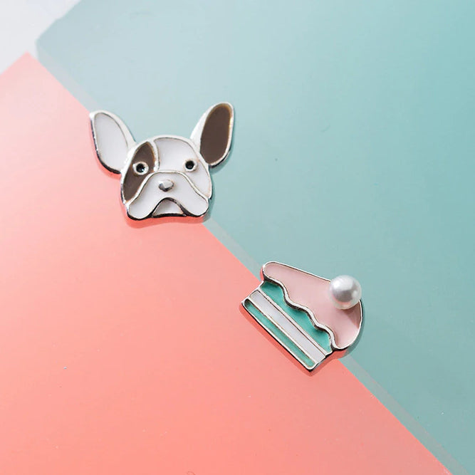 Sterling Silver Dog Stud Earrings - Silver Cake Earrings - Asymmetrical Earrings - 925 Real Silver Earrings - Silver Animal Earrings