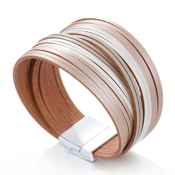 ALLYES Leather Bracelets For Women 2019 Party Slim Strips Wrap Multilayer Wide Bracelet Femme Jewelry