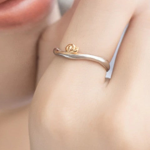 Sterling Silver Gold Snails Wave Ring - 925 Real Silver Ring - Classic Silver Ring - Adjustable Cocktail Ring