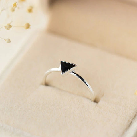 Sterling Silver Black Triangle Ring - 925 Real Silver Ring - Classic Silver Ring - Adjustable Cocktail Ring