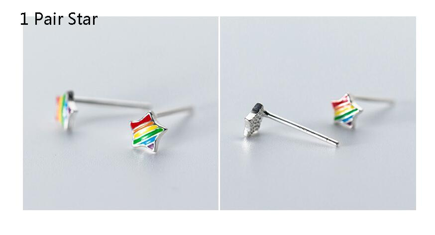 925 Sterling Silver Rainbow Stud Earrings - Rainbow Earrings Star - Rainbow Earring Triangle - Sterling Silver Rainbow Ear Studs - Cute Silver Studs - Tiny Rainbow Jewelry Lux & Rose 1 Pair Star