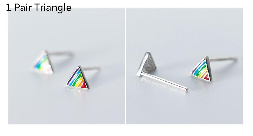 925 Sterling Silver Rainbow Stud Earrings - Rainbow Earrings Star - Rainbow Earring Triangle - Sterling Silver Rainbow Ear Studs - Cute Silver Studs - Tiny Rainbow Jewelry Lux & Rose 1 Pair Triangle