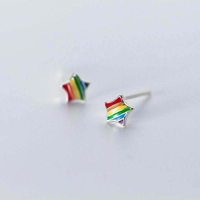 925 Sterling Silver Rainbow Stud Earrings - Rainbow Earrings Star - Rainbow Earring Triangle - Sterling Silver Rainbow Ear Studs - Cute Silver Studs - Tiny Rainbow Jewelry Lux & Rose