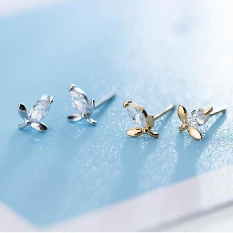 925 Sterling Silver Tiny Leaf Studs - Cute Leaf Stud Earrings - Silver or Golden Leaves Earring Lux & Rose