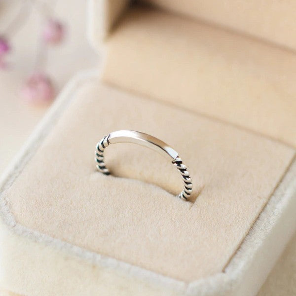 Sterling Silver Twist Ring - 925 Real Silver Ring - Classic Silver Ring - Adjustable Cocktail Ring
