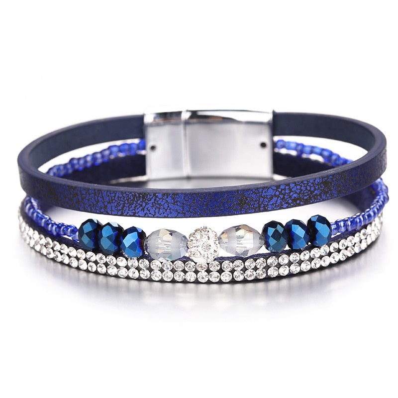 Multilayer Crystal Leather Bracelet – Multicolor Leather Bracelet – Women Femme Jewelry – Crystal Beads Wristband – Leather Jewelry