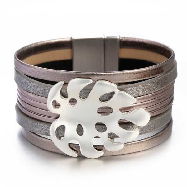 Leaf Shape Leather Bracelet – Tortoise Leaf Bracelet – Bohemian Bracelet – Hollow Metal Leaf Bracelet – Magnetic Leather Bracelet