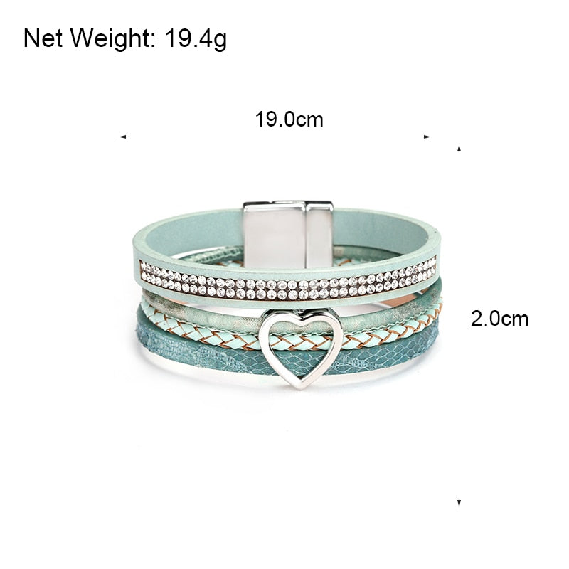 Heart Charm Leather Bracelet – Love Bracelet – Leather Beaded Bracelet – Magnet Clasp Bracelet – Multilayer Bracelet – Rhinestone Bracelet